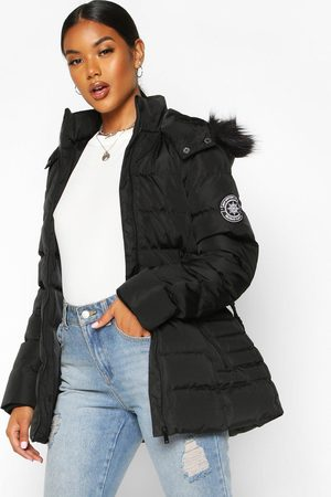 Boohoo Womens Faux Fur Hooded Belted Parka - - 4