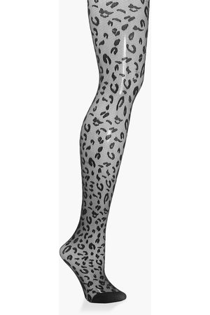 Boohoo Womens Leopard Jacquard Tights - - One Size