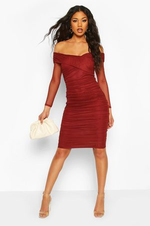 Boohoo Womens Off Shoulder Ruched Mesh Bodycon Midi Dress - - 2