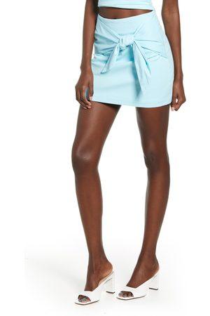 4SI3NNA Women's Adalyn Tie Front Cotton Blend Miniskirt
