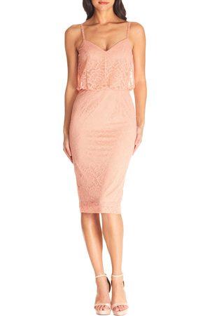Dress The Population Women's Alisha Lace Blouson Cocktail Dress