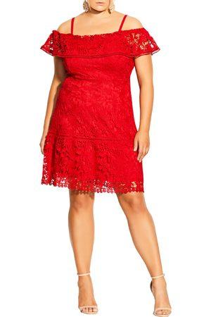 City Chic Plus Size Women's Dream Of Lace Cold Shoulder Dress
