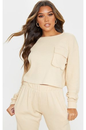 PRETTYLITTLETHING Stone Long Sleeve Pocket Detail Waffle Knit Crop Top