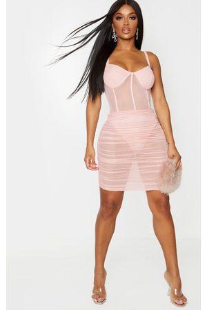 PRETTYLITTLETHING Shape Dusty Mesh Cup Detail Binding Bodycon Dress