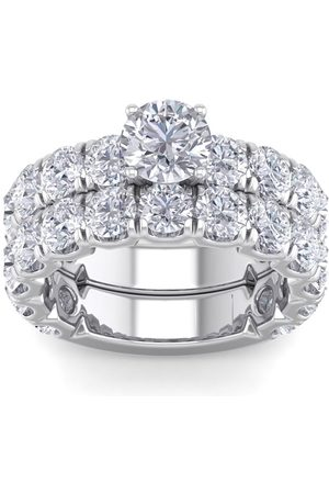 SuperJeweler 6 Carat Round Shape Diamond Bridal Ring Set in 14K (10 g) (