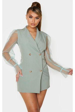 PRETTYLITTLETHING Sage Button Up Organza Sleeve Blazer Dress