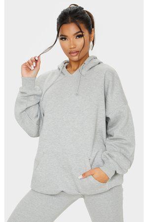 PRETTYLITTLETHING Grey Oversized Pocket Front Drawstring Hoodie