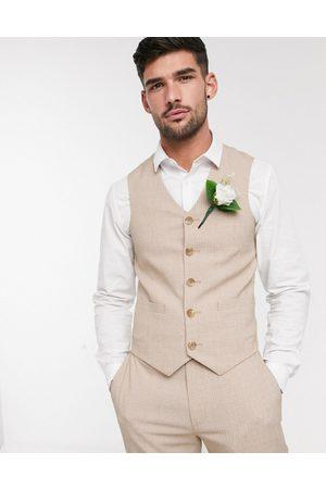 ASOS Wedding skinny suit suit vest in crosshatch in camel