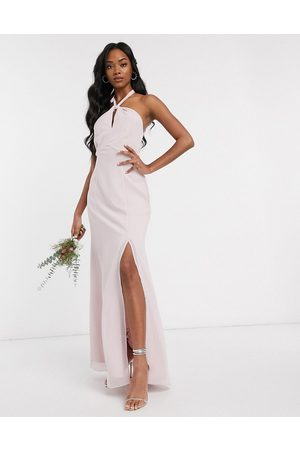 Maids to Measure Bridesmaid halter neck chiffon maxi dress with back detail