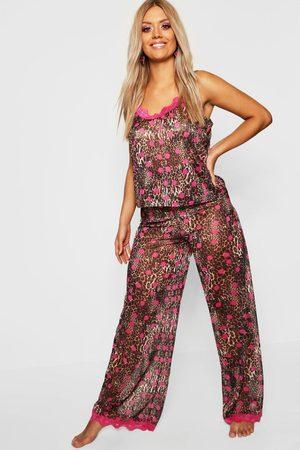 Boohoo Womens Plus Gemma Collins Chiffon Leopard Lace Trim PJ Set - - 6