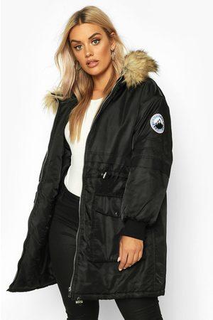 Boohoo Womens Plus Faux Fur Hooded Parka - - 12