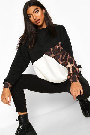 Boohoo Womens Tall Leopard Colour Block Sweat - - 2