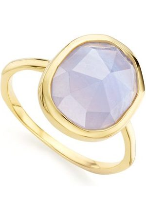 Monica Vinader Gold Siren Medium Stacking Ring Blue Lace Agate