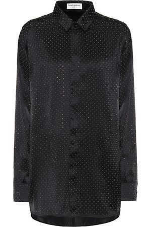 Saint Laurent Embellished silk-satin shirt