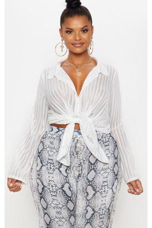 PRETTYLITTLETHING Plus Striped Chiffon Oversized Shirt