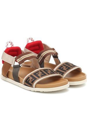 Fendi FF canvas and leather sandals