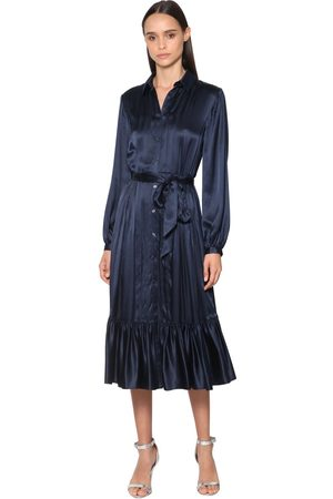 TEMPERLEY LONDON Ruffled Satin Shirt Midi Dress