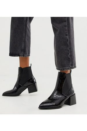 Raid Wide Fit Exclusive Lucinda croc chelsea boots with block heel