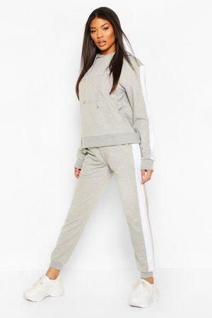 Boohoo Womens Contrast Panel Tracksuit With Woman Embroidery - - 2