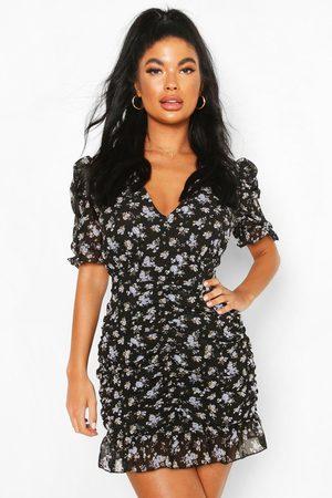 Boohoo Womens Petite Floral Ruched Mini Dress - - 6
