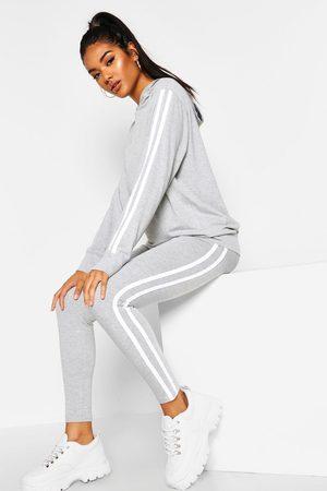 Boohoo Womens Hooded Side Stripe Loungewear Set - - 2
