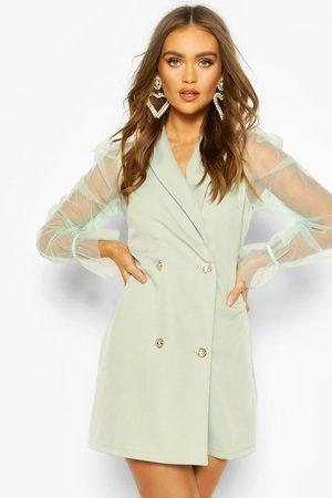 Boohoo Womens Organza Sleeve Button Detail Blazer Dress - - 4