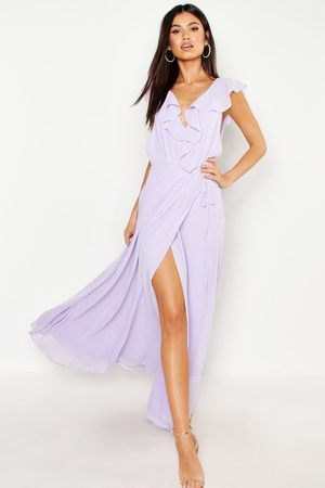 Boohoo Womens Frill Wrap Detail Chiffon Maxi Bridesmaid Dress - - 4