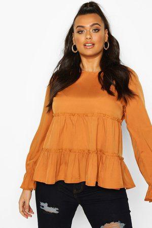Boohoo Womens Plus Woven Ruffle Long Sleeve Smock Top - - 12
