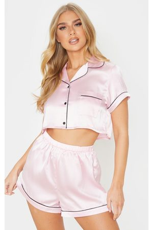 PRETTYLITTLETHING Baby Cropped Satin PJ Shorts Set