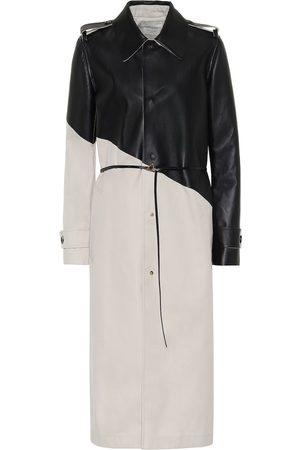 Bottega Veneta Leather and gabardine trench coat