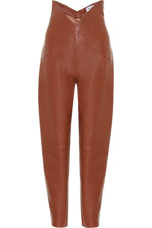 The Attico Leather high-rise carrot pants