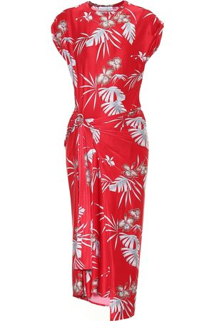 Paco rabanne Printed jersey midi wrap dress