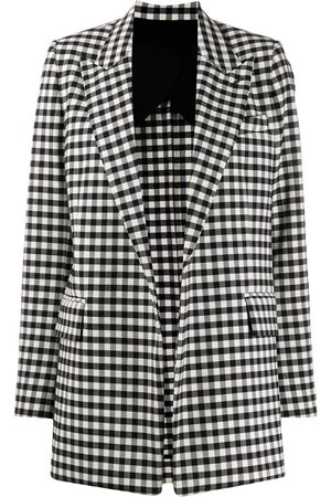 Ami Women Blazers - Gingham buttonless long blazer