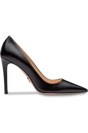 Prada Saffiano textured patent leather pumps