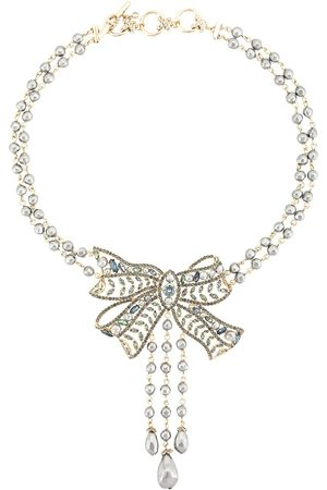 Marchesa Notte Nightingale bow necklace - Blue