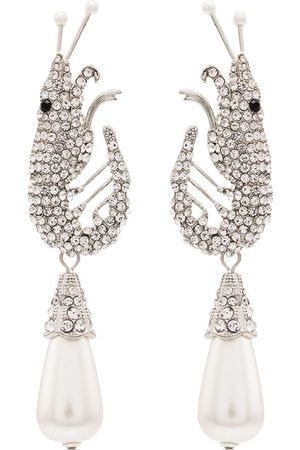 Shrimps Women Earrings - Shrimp motif crystal earrings