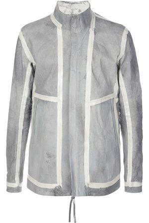 11 BY BORIS BIDJAN SABERI Striped panel leather jacket - Grey