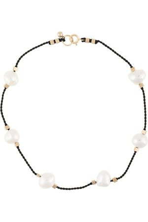 Petite Grand Pearl embellished cord anklet