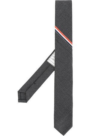 Thom Browne Men Bow Ties - Classic Necktie With Seamed In Red, White And Blue Selvedge (26cm) In Super 120's Twill - Grey