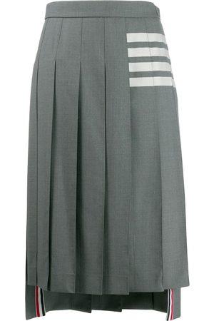Thom Browne 4-Bar stripe pleated midi skirt - Grey