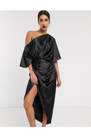 ASOS EDITION Drape asymmetric maxi dress in satin