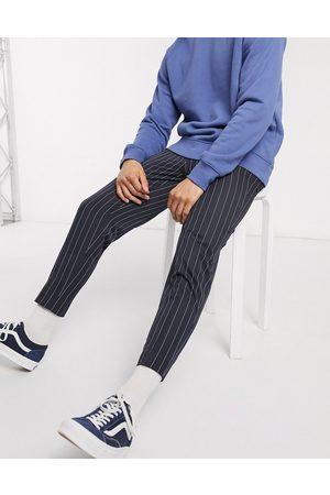ASOS Men Chinos - Smart tapered pinstripe pants in navy