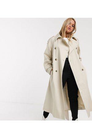 ASOS ASOS DESIGN Curve longline trench coat in stone-Cream