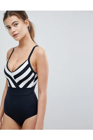 Pour Moi Fuller Bust control swimsuit in and white stripe