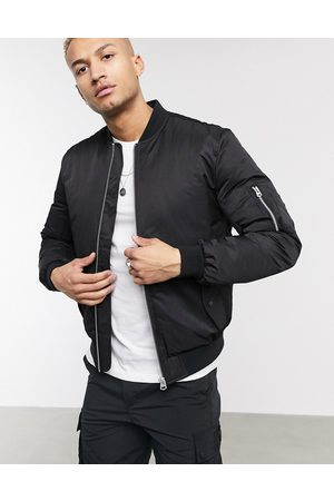 ASOS DESIGN Quilted bomber jacket with MA1 pocket in
