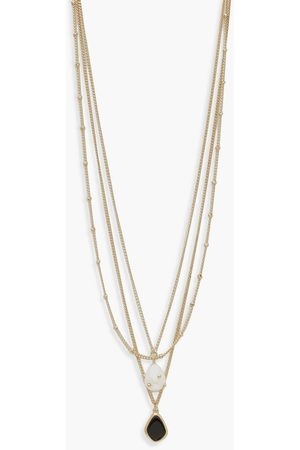 Boohoo Womens Pearl And Enamel Pendant Layered Necklace - - One Size