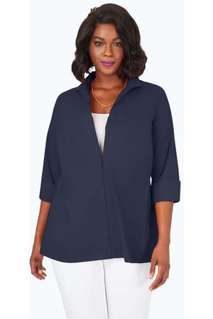 Foxcroft Lydia Plus Essential Stretch Non-Iron Zip-Up Tunic