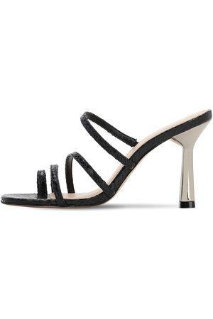 Kurt Geiger 90mm Lizard Print Leather Thong Sandals