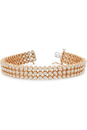 SuperJeweler 8 Inch 9 Carat Three Row Diamond Men's Tennis Bracelet in 14K (26 g)