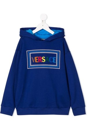 VERSACE Boys Sweatshirts - Logo-embroidered hooded sweatshirt